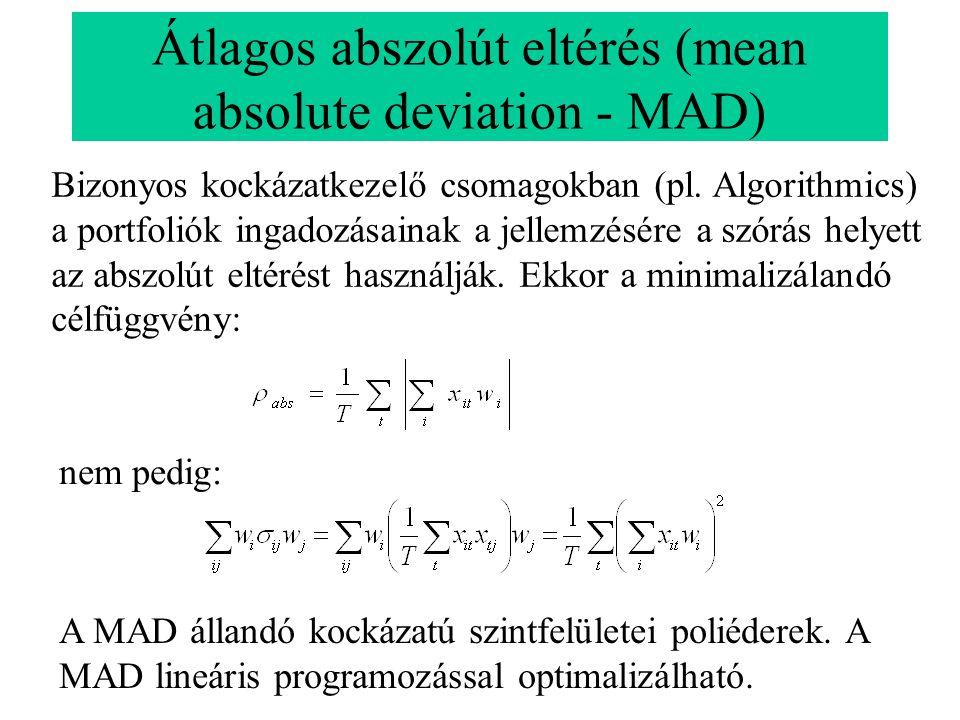 Átlagos abszolút eltérés (mean absolute deviation - MAD) nem pedig: Bizonyos kockázatkezelő csomagokban (pl. Algorithmics) a portfoliók ingadozásainak