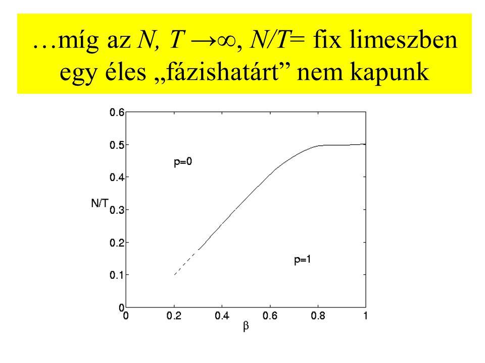 """…míg az N, T →∞, N/T= fix limeszben egy éles """"fázishatárt"""" nem kapunk"""