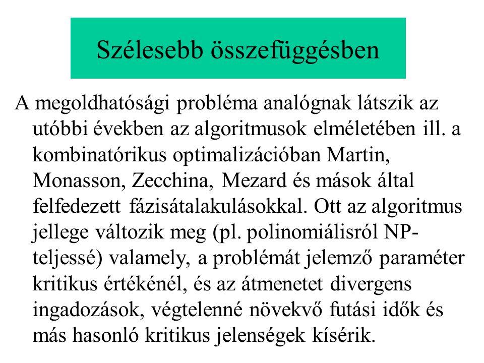 Szélesebb összefüggésben A megoldhatósági probléma analógnak látszik az utóbbi években az algoritmusok elméletében ill. a kombinatórikus optimalizáció