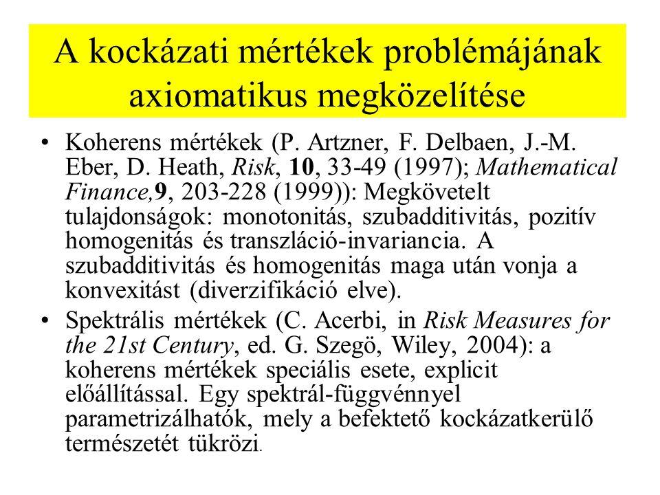 A kockázati mértékek problémájának axiomatikus megközelítése Koherens mértékek (P. Artzner, F. Delbaen, J.-M. Eber, D. Heath, Risk, 10, 33-49 (1997);