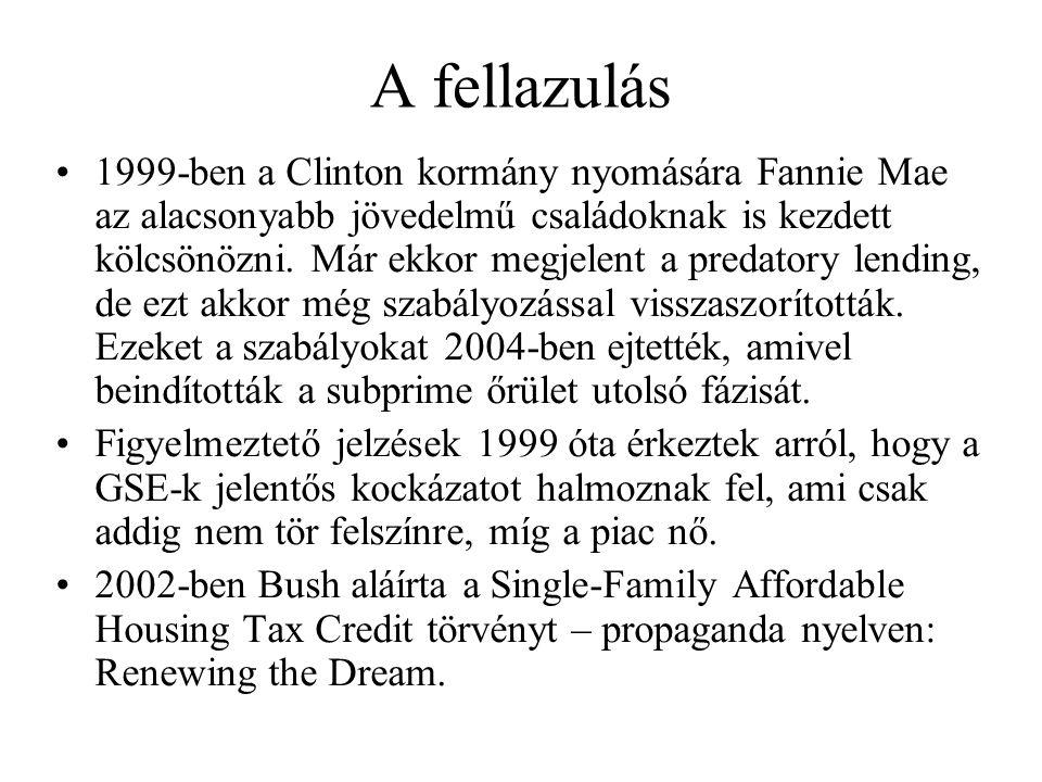 A fellazulás 1999-ben a Clinton kormány nyomására Fannie Mae az alacsonyabb jövedelmű családoknak is kezdett kölcsönözni. Már ekkor megjelent a predat