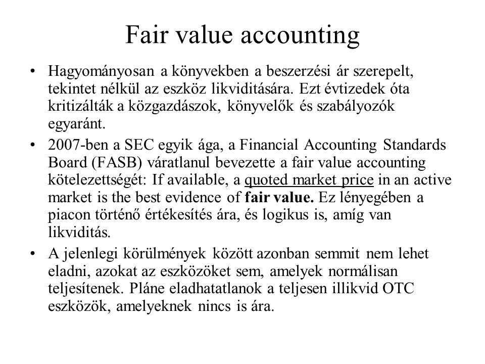 Fair value accounting Hagyományosan a könyvekben a beszerzési ár szerepelt, tekintet nélkül az eszköz likviditására. Ezt évtizedek óta kritizálták a k