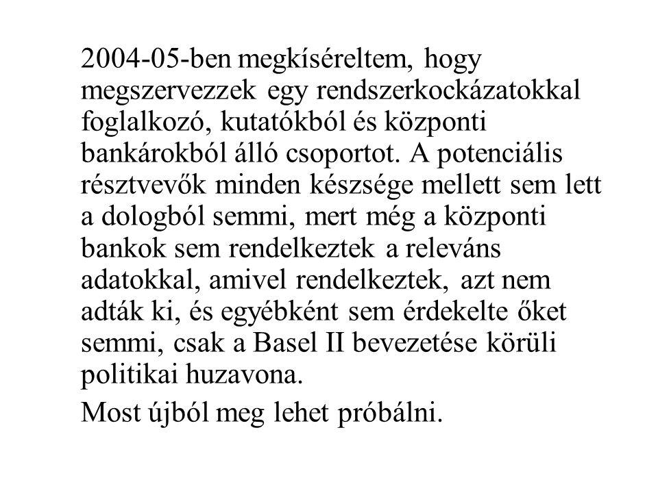 2004-05-ben megkíséreltem, hogy megszervezzek egy rendszerkockázatokkal foglalkozó, kutatókból és központi bankárokból álló csoportot. A potenciális r