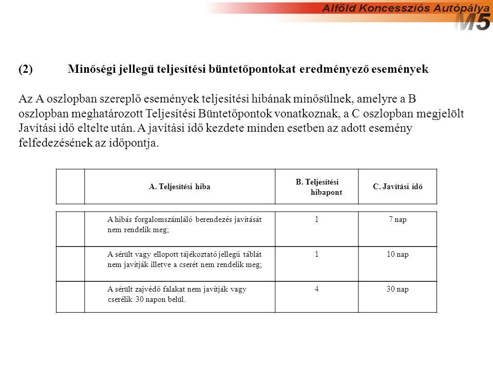 (2)Minőségi jellegű teljesítési büntetőpontokat eredményező események Az A oszlopban szereplő események teljesítési hibának minősülnek, amelyre a B os