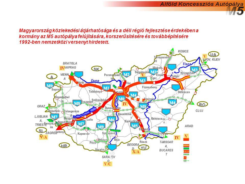 Magyarország közlekedési átjárhatósága és a déli régió fejlesztése érdekében a kormány az M5 autópálya felújítására, korszerűsítésére és továbbépítésére 1992-ben nemzetközi versenyt hirdetett.