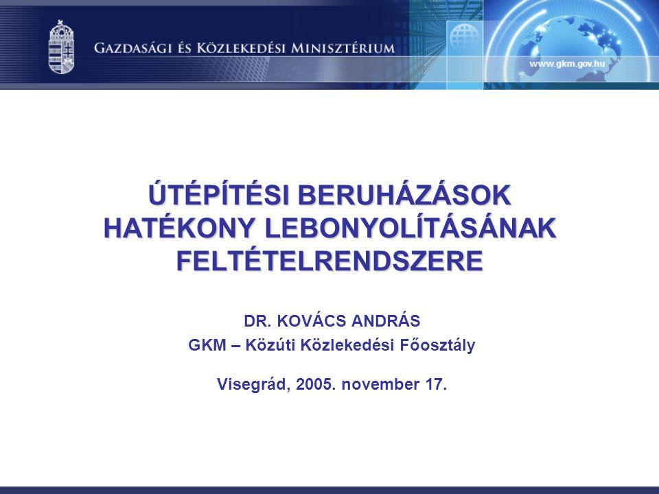 ÚTÉPÍTÉSI BERUHÁZÁSOK HATÉKONY LEBONYOLÍTÁSÁNAK FELTÉTELRENDSZERE DR.