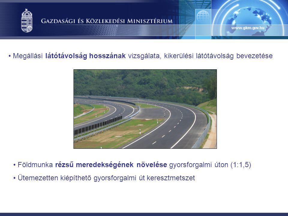 Megállási látótávolság hosszának vizsgálata, kikerülési látótávolság bevezetése Földmunka rézsű meredekségének növelése gyorsforgalmi úton (1:1,5) Ütemezetten kiépíthető gyorsforgalmi út keresztmetszet