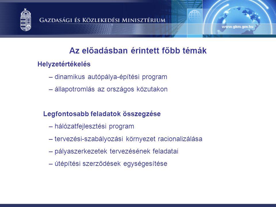 Helyzetértékelés – dinamikus autópálya-építési program – állapotromlás az országos közutakon Legfontosabb feladatok összegzése – hálózatfejlesztési program – tervezési-szabályozási környezet racionalizálása – pályaszerkezetek tervezésének feladatai – útépítési szerződések egységesítése Az előadásban érintett főbb témák