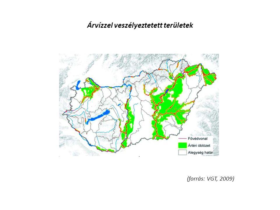 Árvízzel veszélyeztetett területek (forrás: VGT, 2009)