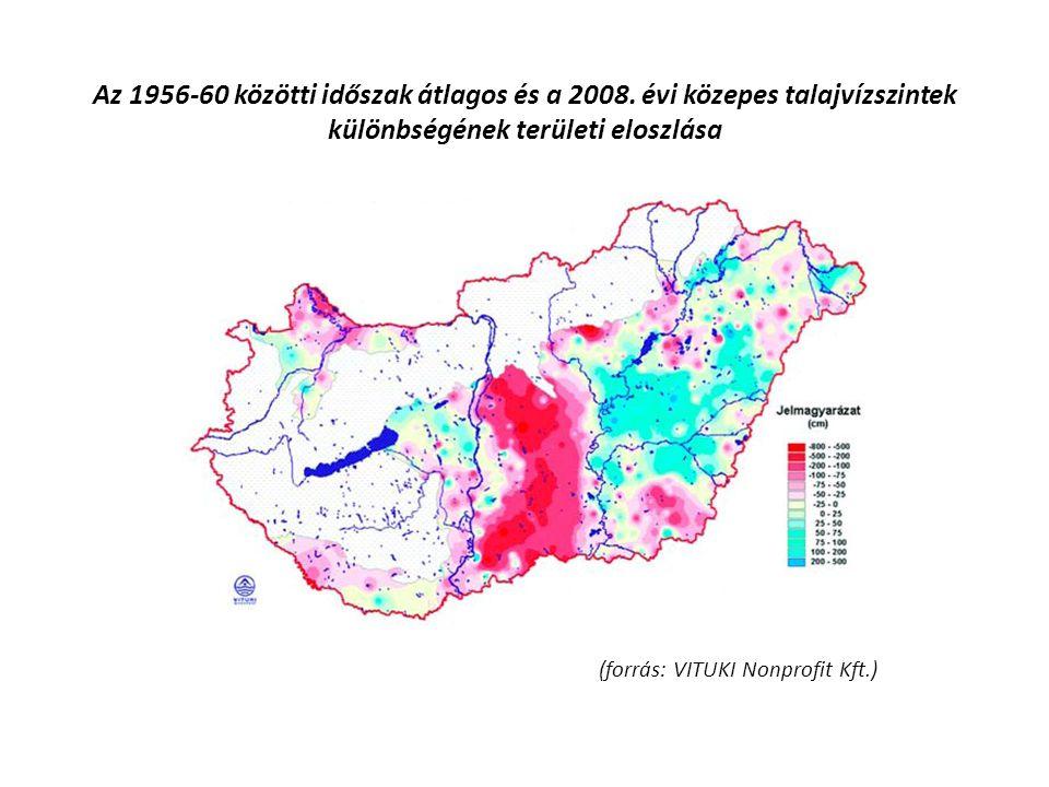 (forrás: VITUKI Nonprofit Kft.) Az 1956-60 közötti időszak átlagos és a 2008. évi közepes talajvízszintek különbségének területi eloszlása