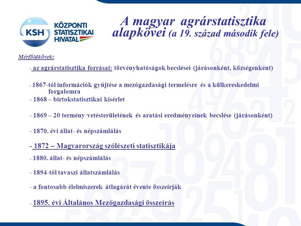 A magyar agrárstatisztika alapkövei (a 19.