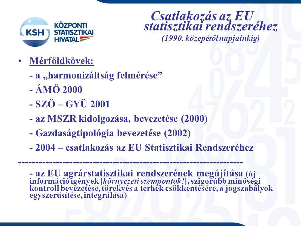 Csatlakozás az EU statisztikai rendszeréhez (1990.