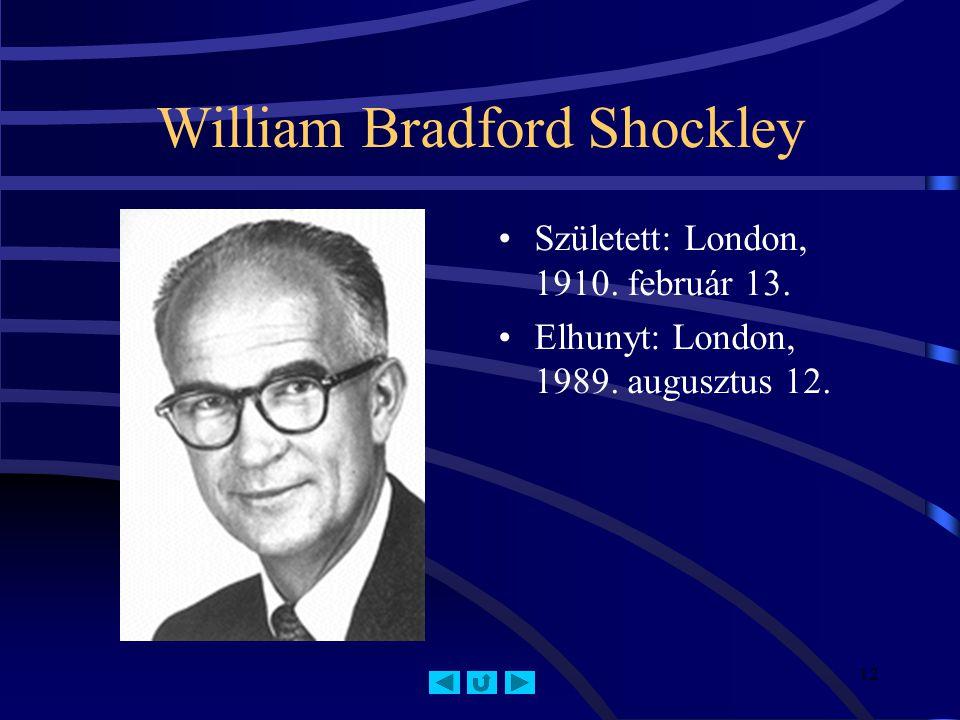 12 William Bradford Shockley Született: London, 1910.