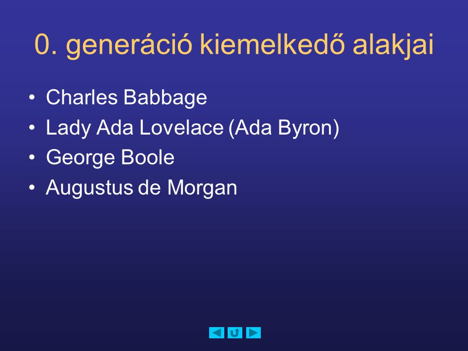 0. generáció kiemelkedő alakjai Charles Babbage Lady Ada Lovelace (Ada Byron) George Boole Augustus de Morgan