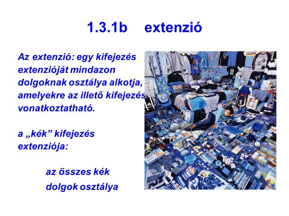 """1.3.1b extenzió Az extenzió: egy kifejezés extenzióját mindazon dolgoknak osztálya alkotja, amelyekre az illető kifejezés vonatkoztatható. a """"kék"""" kif"""