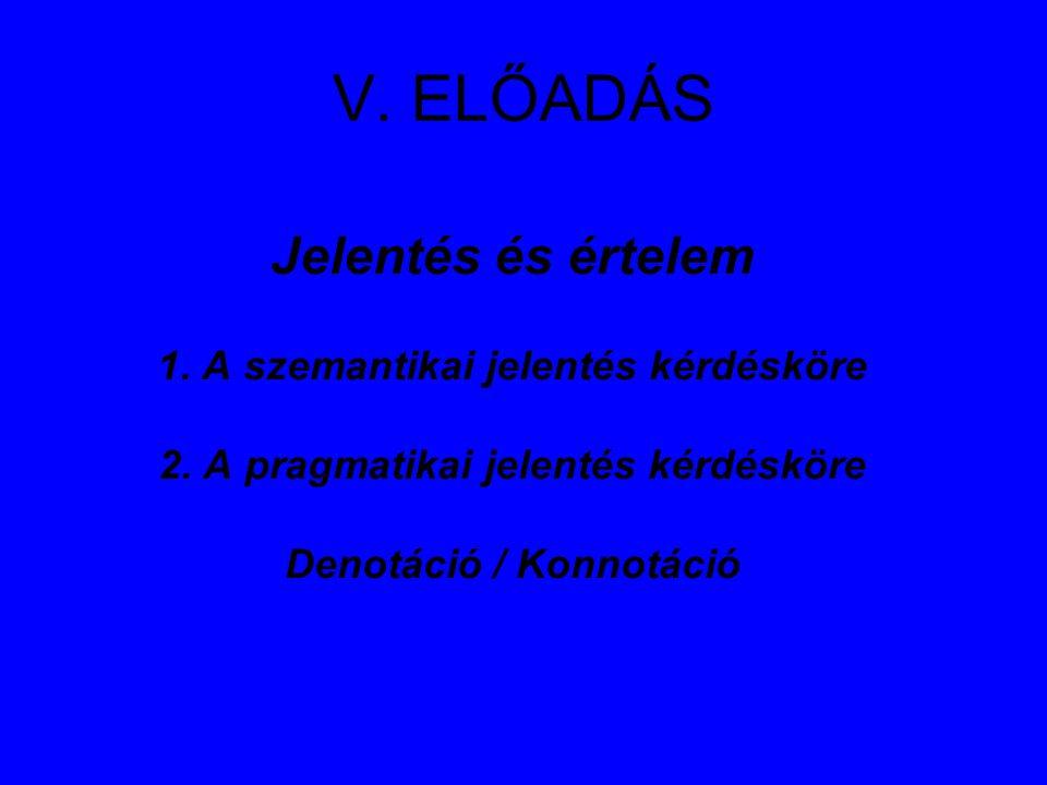 V. ELŐADÁS Jelentés és értelem 1. A szemantikai jelentés kérdésköre 2. A pragmatikai jelentés kérdésköre Denotáció / Konnotáció