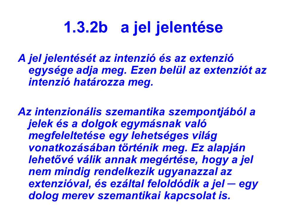 1.3.2b a jel jelentése A jel jelentését az intenzió és az extenzió egysége adja meg. Ezen belül az extenziót az intenzió határozza meg. Az intenzionál