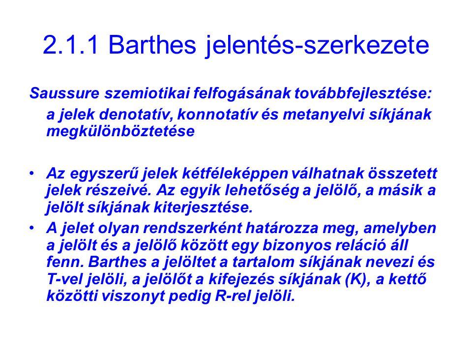 2.1.1 Barthes jelentés-szerkezete Saussure szemiotikai felfogásának továbbfejlesztése: a jelek denotatív, konnotatív és metanyelvi síkjának megkülönbö