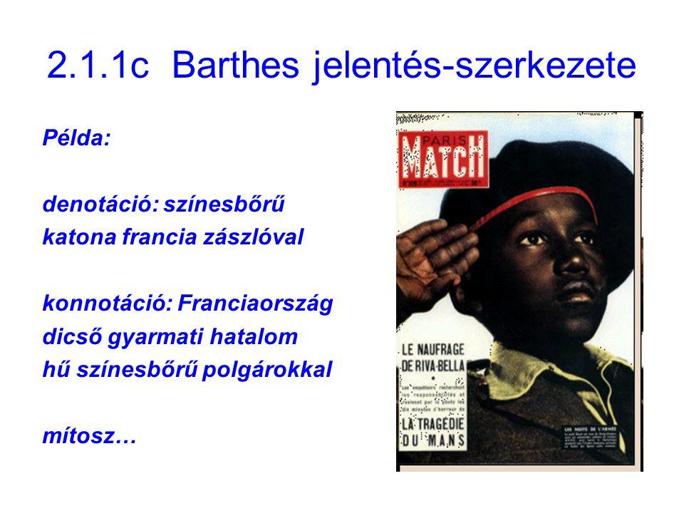 2.1.1c Barthes jelentés-szerkezete Példa: denotáció: színesbőrű katona francia zászlóval konnotáció: Franciaország dicső gyarmati hatalom hű színesbőr