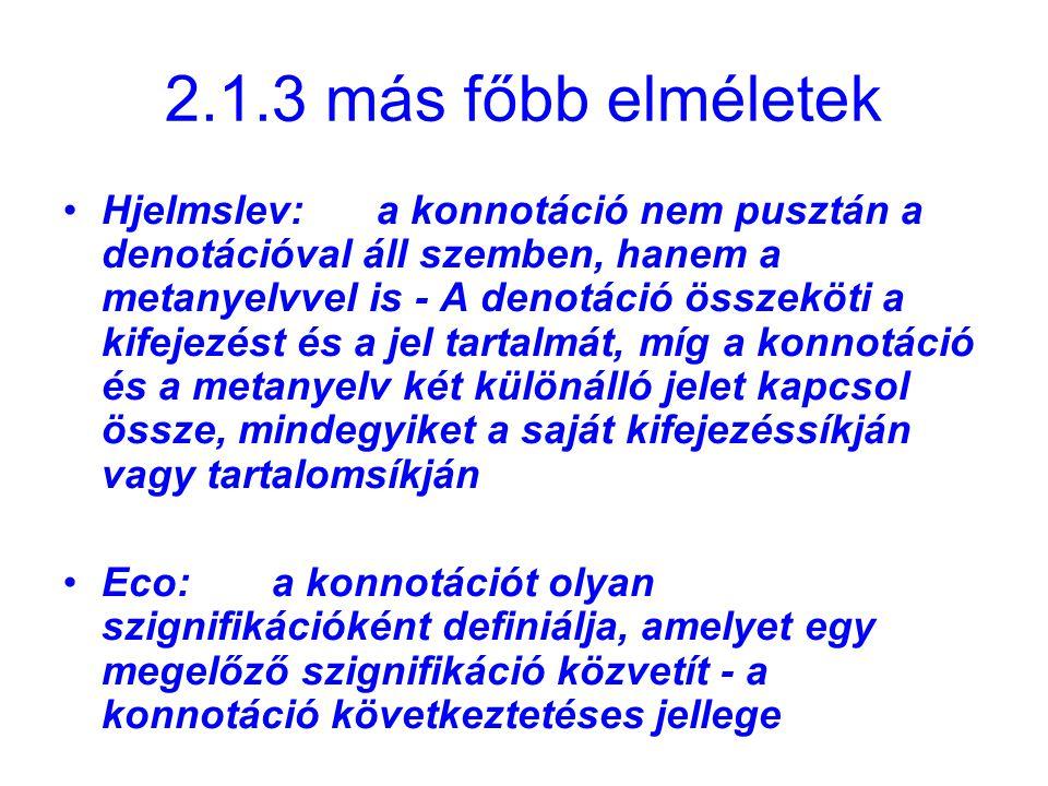 2.1.3 más főbb elméletek Hjelmslev:a konnotáció nem pusztán a denotációval áll szemben, hanem a metanyelvvel is - A denotáció összeköti a kifejezést é
