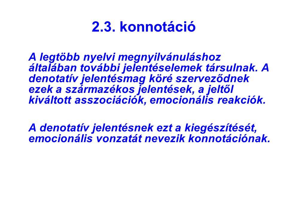 2.3. konnotáció A legtöbb nyelvi megnyilvánuláshoz általában további jelentéselemek társulnak. A denotatív jelentésmag köré szerveződnek ezek a szárma