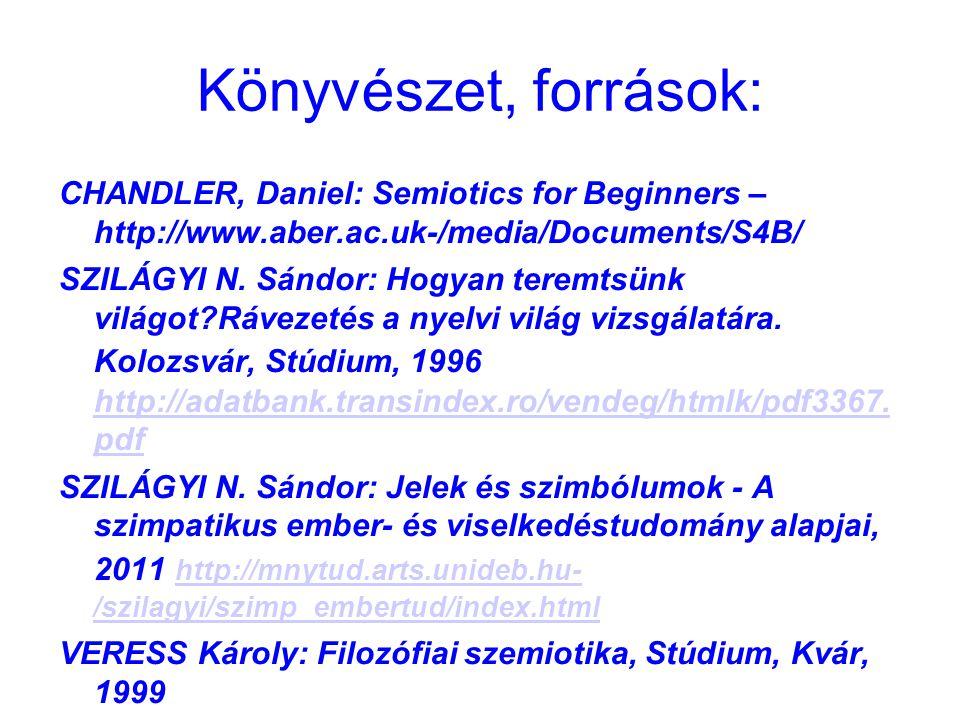 Könyvészet, források: CHANDLER, Daniel: Semiotics for Beginners – http://www.aber.ac.uk-/media/Documents/S4B/ SZILÁGYI N. Sándor: Hogyan teremtsünk vi
