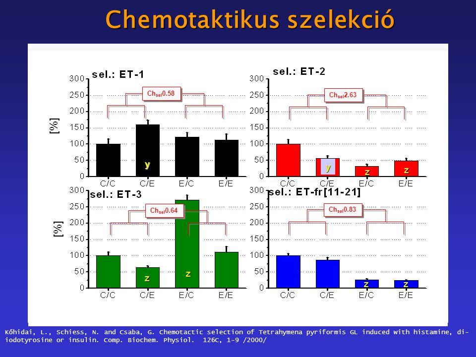 Chemotaktikus szelekció Cont/ContCont/InsIns/ContIns/Ins 0 20 40 60 80 100 120 140 160 180 Number of cells [%] y p< 0.01 y y x x p<0.05 Ch sel 1.57 Insulin Ch sel 1.12 IL-8 y y z z z z z z Ch sel 0.58 Ch sel 2.63 Ch sel 0.64 Ch sel 0.83 Kőhidai, L., Schiess, N.