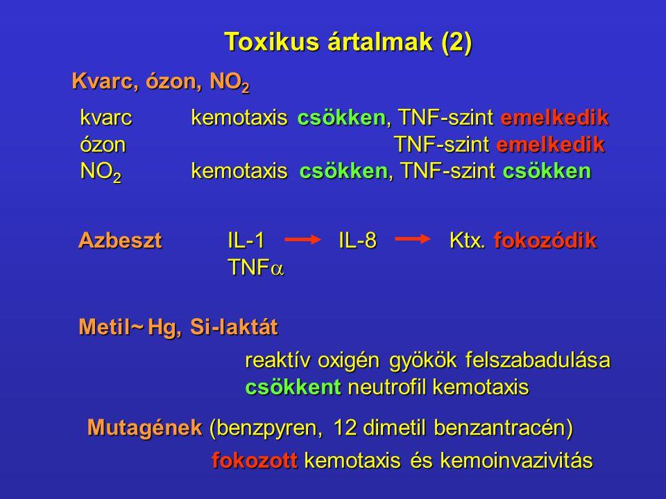 Kvarc, ózon, NO 2 kvarckemotaxis csökken, TNF-szint emelkedik ózon TNF-szint emelkedik NO 2 kemotaxis csökken, TNF-szint csökken Azbeszt IL-1IL-8Ktx.