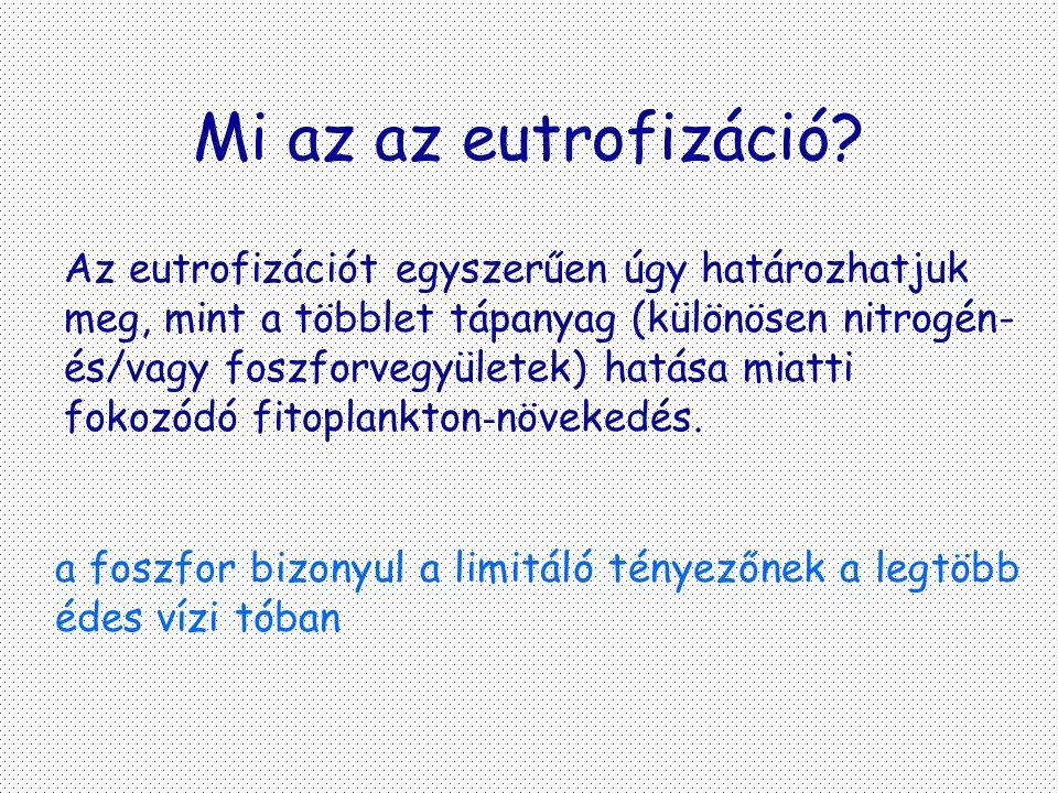 Mi az az eutrofizáció? Az eutrofizációt egyszerűen úgy határozhatjuk meg, mint a többlet tápanyag (különösen nitrogén- és/vagy foszforvegyületek) hatá