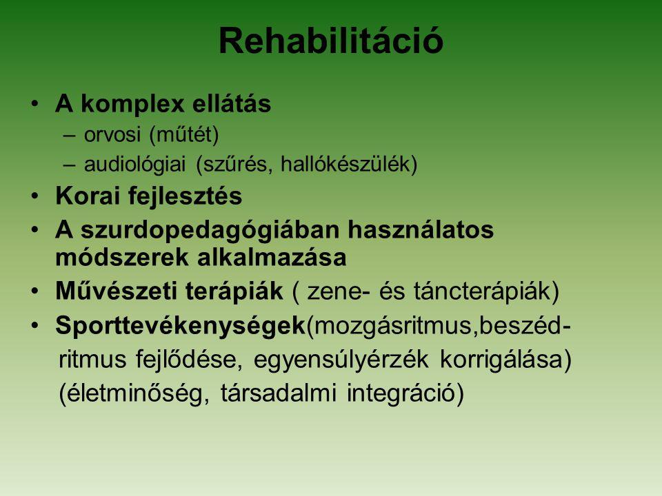 Rehabilitáció A komplex ellátás –orvosi (műtét) –audiológiai (szűrés, hallókészülék) Korai fejlesztés A szurdopedagógiában használatos módszerek alkal