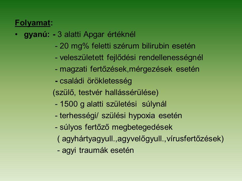 Folyamat: gyanú: - 3 alatti Apgar értéknél - 20 mg% feletti szérum bilirubin esetén - veleszületett fejlődési rendellenességnél - magzati fertőzések,m