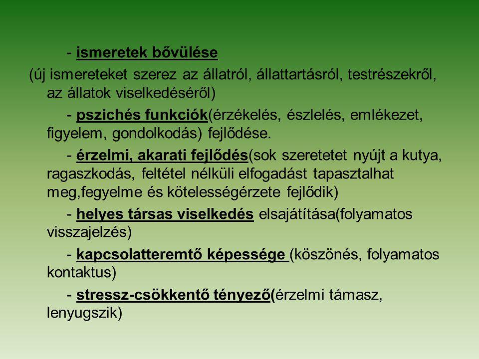 - ismeretek bővülése (új ismereteket szerez az állatról, állattartásról, testrészekről, az állatok viselkedéséről) - pszichés funkciók(érzékelés, észl