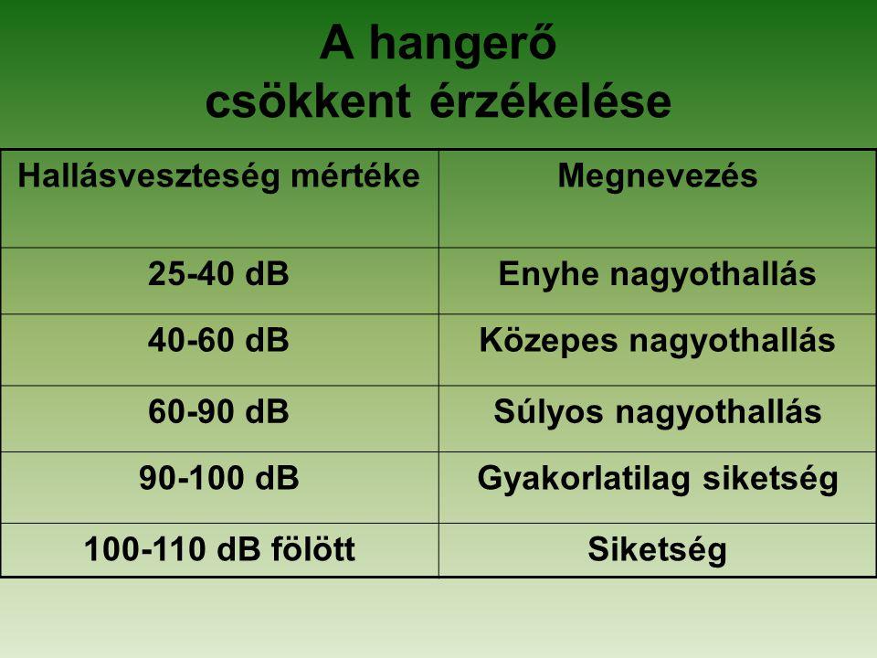 A hangerő csökkent érzékelése Hallásveszteség mértékeMegnevezés 25-40 dBEnyhe nagyothallás 40-60 dBKözepes nagyothallás 60-90 dBSúlyos nagyothallás 90