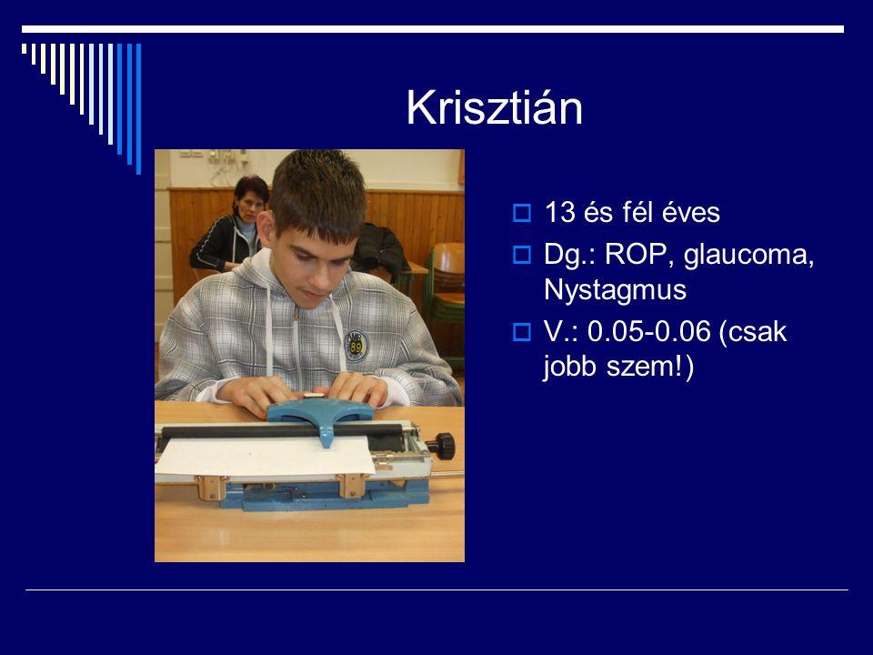 Krisztián  13 és fél éves  Dg.: ROP, glaucoma, Nystagmus  V.: 0.05-0.06 (csak jobb szem!)