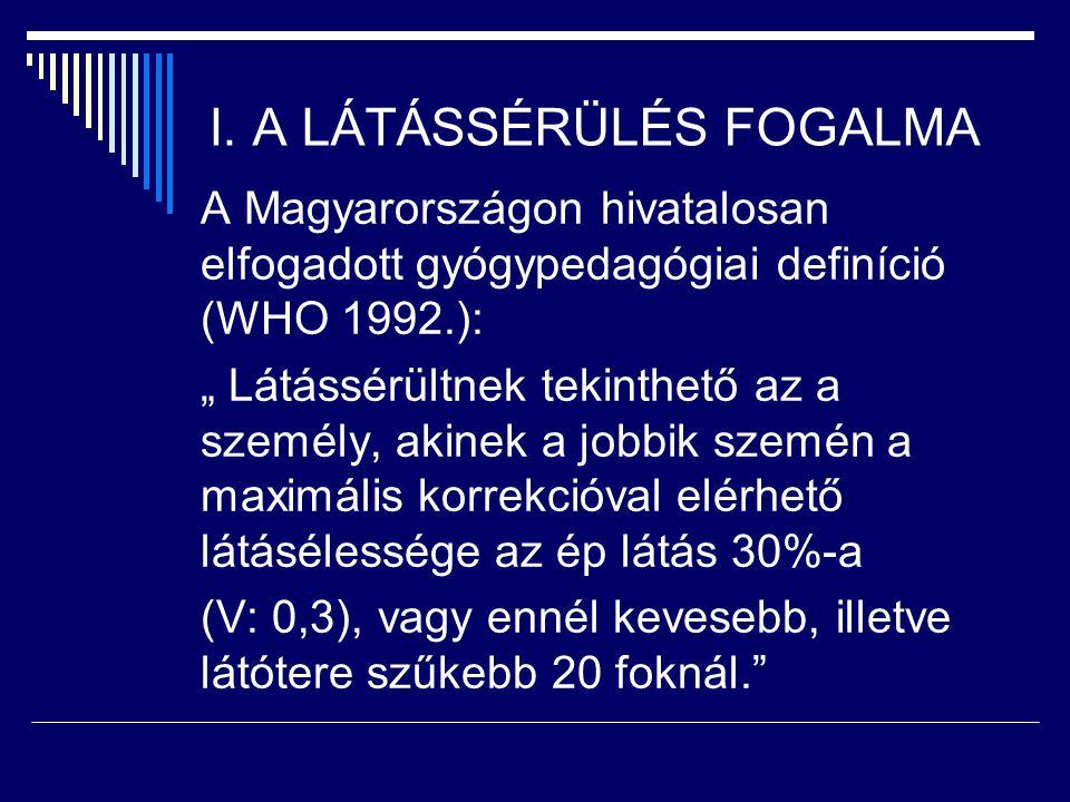"""I. A LÁTÁSSÉRÜLÉS FOGALMA A Magyarországon hivatalosan elfogadott gyógypedagógiai definíció (WHO 1992.): """" Látássérültnek tekinthető az a személy, aki"""