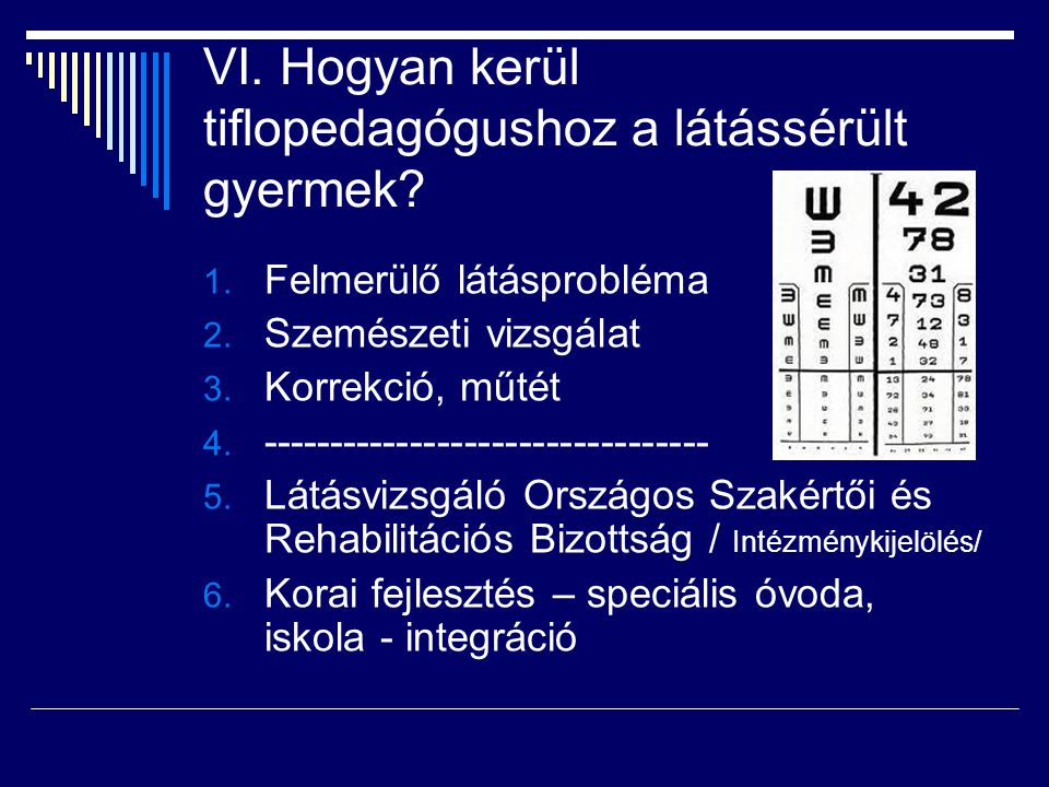 VI. Hogyan kerül tiflopedagógushoz a látássérült gyermek? 1. Felmerülő látásprobléma 2. Szemészeti vizsgálat 3. Korrekció, műtét 4. ------------------
