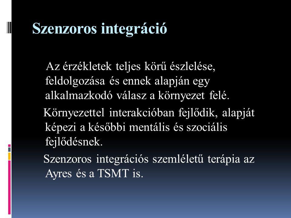 Szenzoros integráció Az érzékletek teljes körű észlelése, feldolgozása és ennek alapján egy alkalmazkodó válasz a környezet felé. Környezettel interak