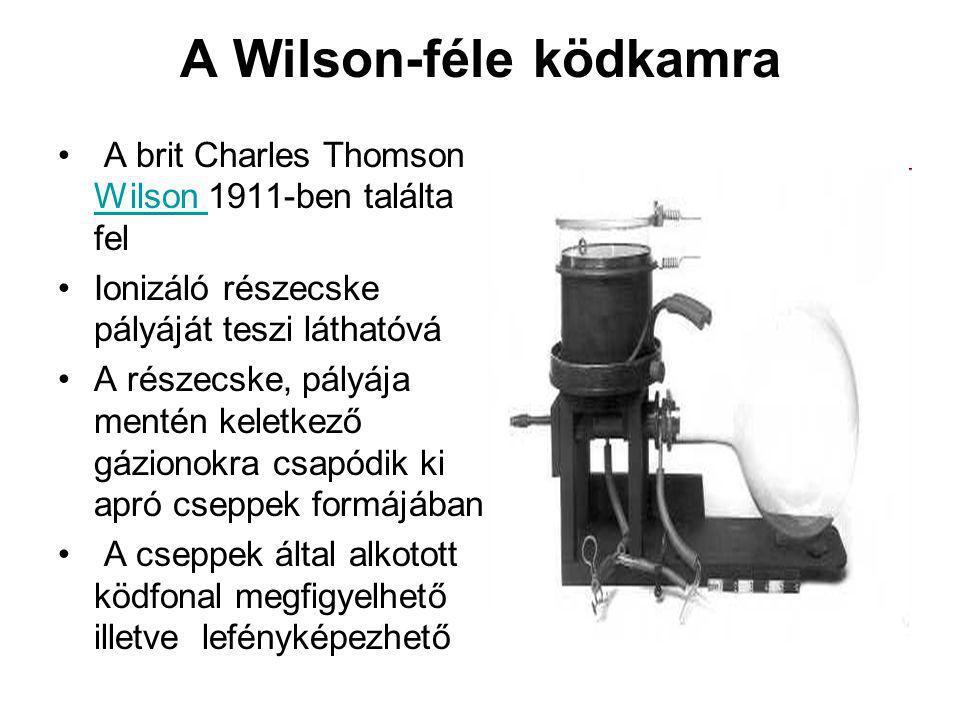 A Wilson-féle ködkamra A brit Charles Thomson Wilson 1911-ben találta fel Wilson Ionizáló részecske pályáját teszi láthatóvá A részecske, pályája mentén keletkező gázionokra csapódik ki apró cseppek formájában A cseppek által alkotott ködfonal megfigyelhető illetve lefényképezhető