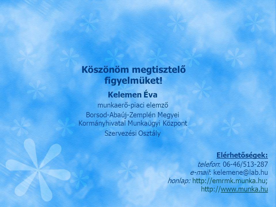 Köszönöm megtisztelő figyelmüket! Kelemen Éva munkaerő-piaci elemző Borsod-Abaúj-Zemplén Megyei Kormányhivatal Munkaügyi Központ Szervezési Osztály El
