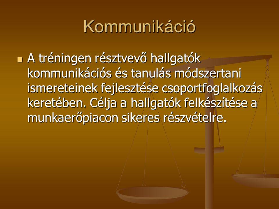 Kommunikáció A tréningen résztvevő hallgatók kommunikációs és tanulás módszertani ismereteinek fejlesztése csoportfoglalkozás keretében.
