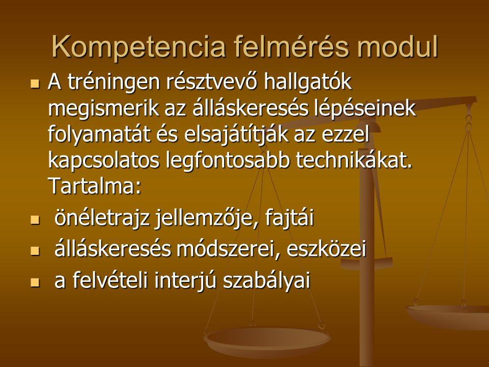 Kompetencia felmérés modul A tréningen résztvevő hallgatók megismerik az álláskeresés lépéseinek folyamatát és elsajátítják az ezzel kapcsolatos legfontosabb technikákat.