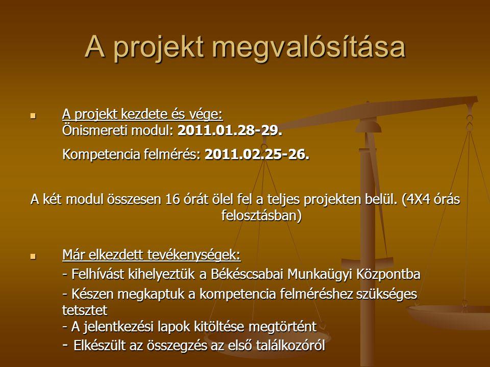 A projekt megvalósítása A projekt kezdete és vége: Önismereti modul: 2011.01.28-29. Kompetencia felmérés: 2011.02.25-26. A projekt kezdete és vége: Ön