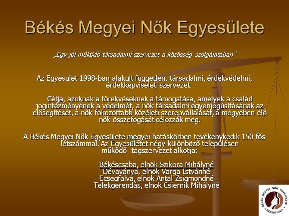 """Békés Megyei Nők Egyesülete """"Egy jól működő társadalmi szervezet a közösség szolgálatában"""" Az Egyesület 1998-ban alakult független, társadalmi, érdekv"""