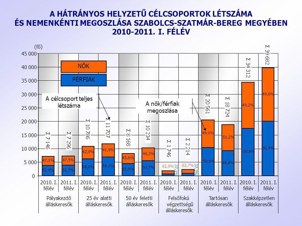 A HÁTRÁNYOS HELYZETŰ CÉLCSOPORTOK LÉTSZÁMA ÉS NEMENKÉNTI MEGOSZLÁSA SZABOLCS-SZATMÁR-BEREG MEGYÉBEN 2010-2011. I. FÉLÉV