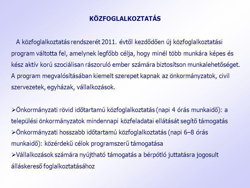 A közfoglalkoztatás rendszerét 2011. évtől kezdődően új közfoglalkoztatási program váltotta fel, amelynek legfőbb célja, hogy minél több munkára képes