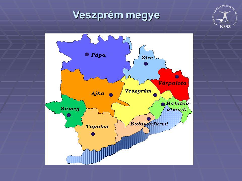 A nyilvántartott álláskeresők arányának alakulása Veszprém megye 2011. május