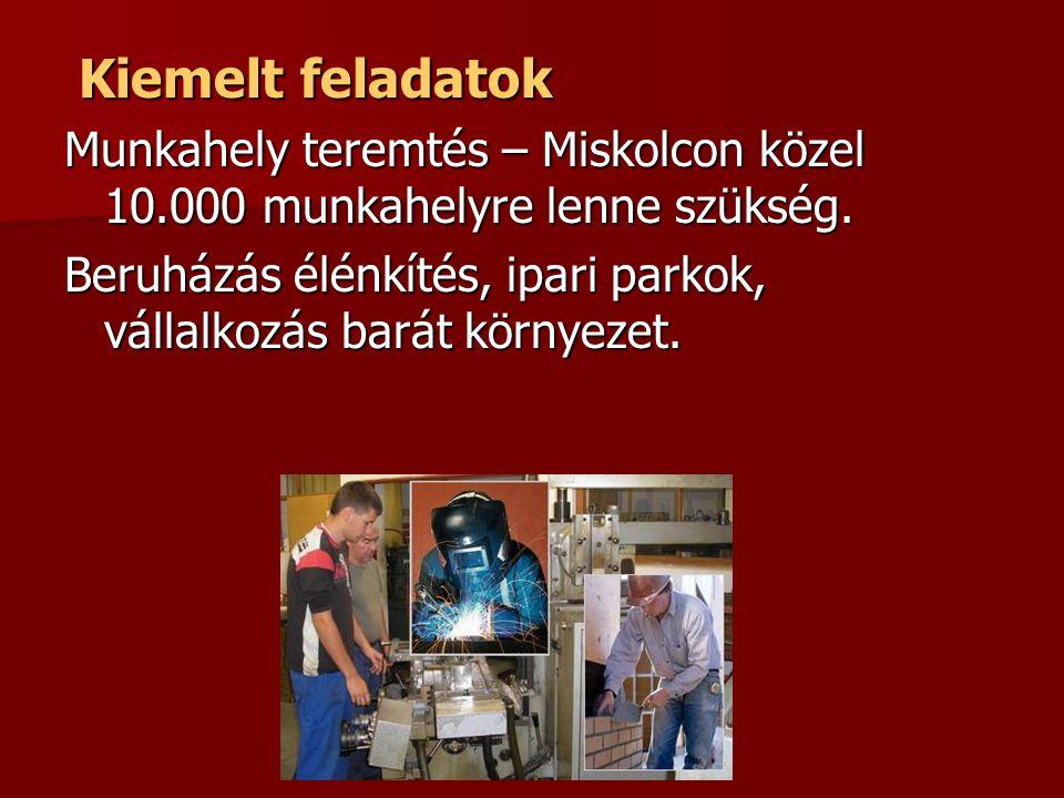 Kiemelt feladatok Kiemelt feladatok Munkahely teremtés – Miskolcon közel 10.000 munkahelyre lenne szükség. Beruházás élénkítés, ipari parkok, vállalko