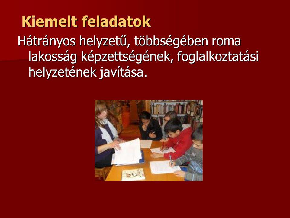 Kiemelt feladatok Kiemelt feladatok Hátrányos helyzetű, többségében roma lakosság képzettségének, foglalkoztatási helyzetének javítása.