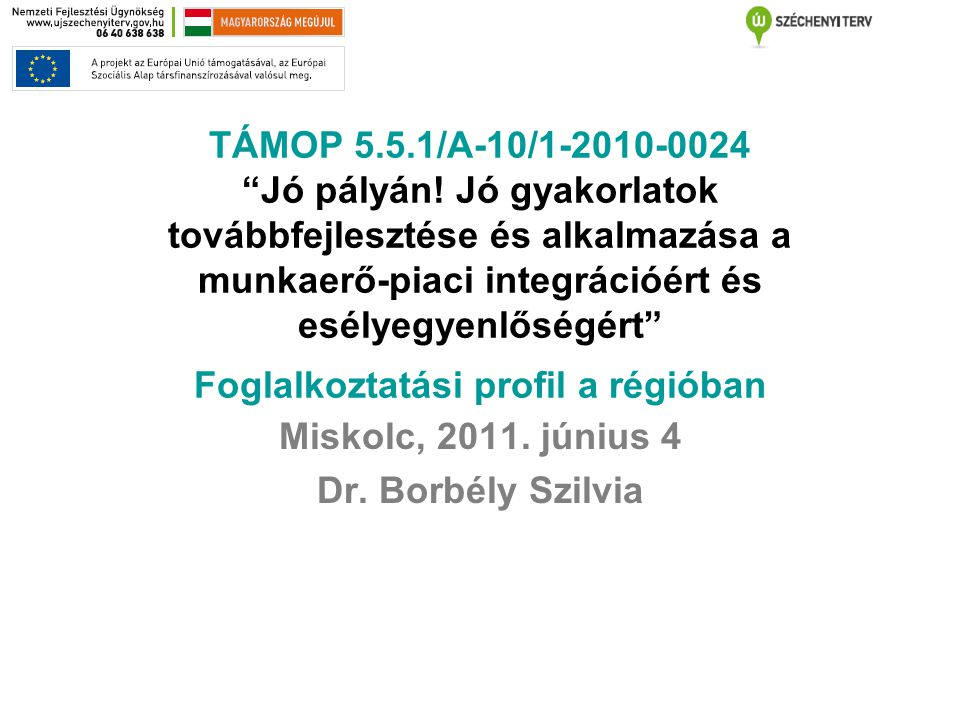 """TÁMOP 5.5.1/A-10/1-2010-0024 """"Jó pályán! Jó gyakorlatok továbbfejlesztése és alkalmazása a munkaerő-piaci integrációért és esélyegyenlőségért"""" Foglalk"""