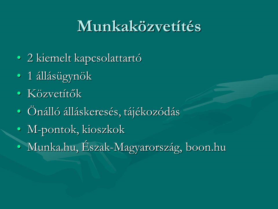 Munkaközvetítés 2 kiemelt kapcsolattartó2 kiemelt kapcsolattartó 1 állásügynök1 állásügynök KözvetítőkKözvetítők Önálló álláskeresés, tájékozódásÖnálló álláskeresés, tájékozódás M-pontok, kioszkokM-pontok, kioszkok Munka.hu, Észak-Magyarország, boon.huMunka.hu, Észak-Magyarország, boon.hu